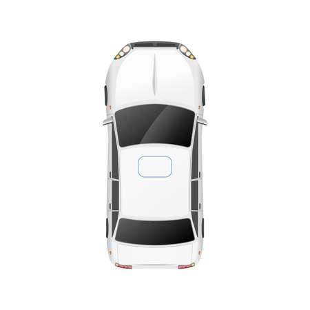 Top view of realistic glossy white casual car on white Vektorgrafik
