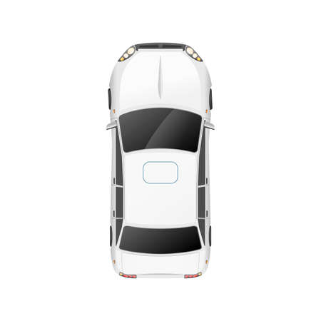 Top view of realistic glossy white casual car on white Vector Illustratie