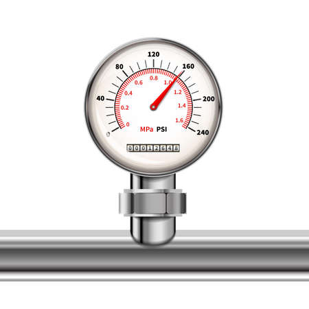 Bright realistic manometer with glossy chrome pipe in white