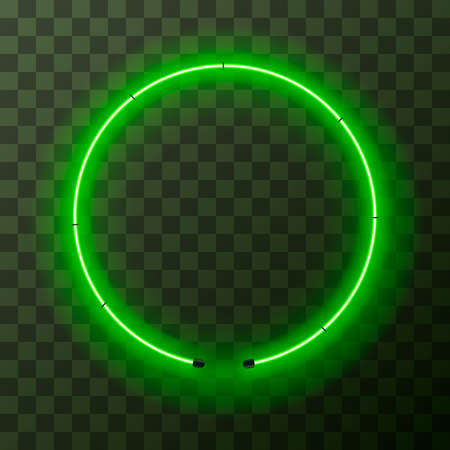 Green neon round frame, template on transparent background