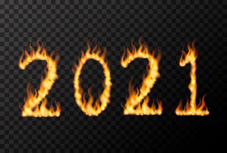2021 number made from bright fire flames on transparent