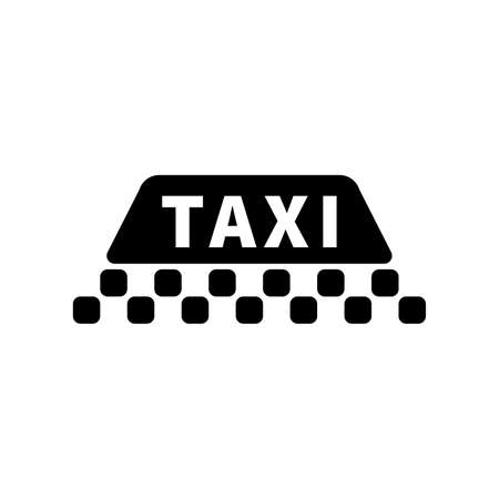 Taxi sign silhouette, black icon on white