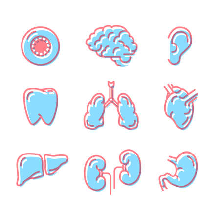Set of simple colour icons of human organs on white Ilustração