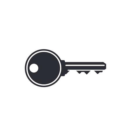 Door key simple black icon isolated on white Ilustração