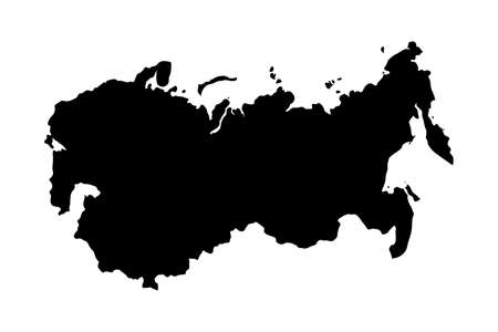 USSR country black silhouette isolated on white Ilustração