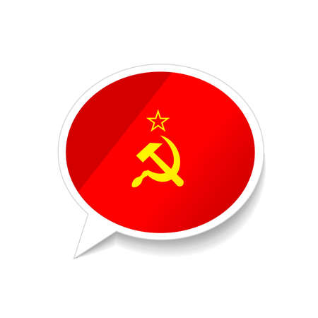 Glossy speech bubble with USSR flag on white