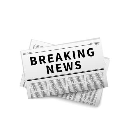Breaking news header, folded newspaper on white