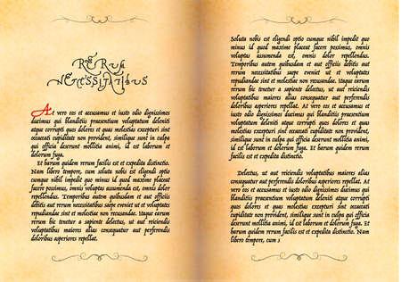 Open ancient book, manuscript in latin with no sense