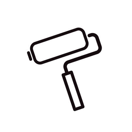 Paint roller simple black icon on white