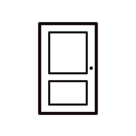 Closed door simple black icon on white