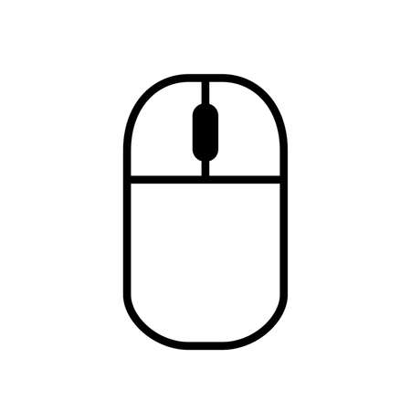 Computer mouse, simple black icon on the white