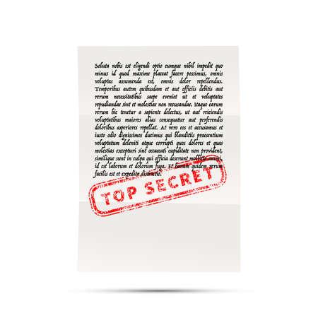 Handwritten letter on latin with no sense with top secret stamp Ilustração