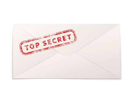 Realistic paper envelope with red top secret stamp on white Ilustração