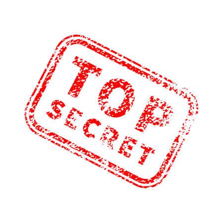 Top secret bright red grunge stamp on white