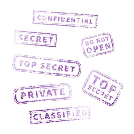 Top secret purple vintage grunge stamp collection on white
