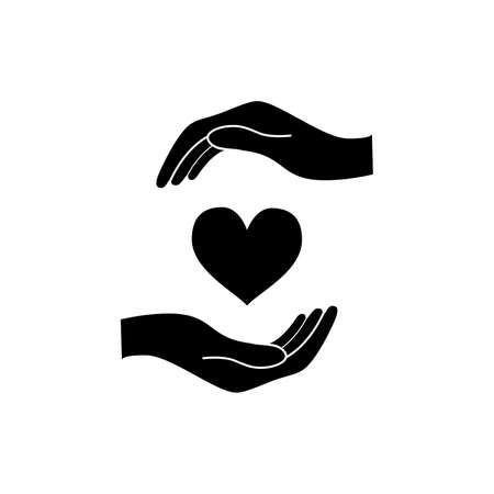 Hands hold a heart, healthcare concept black icon on white