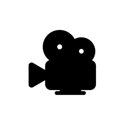 Vintage retro video camera simple black icon on white