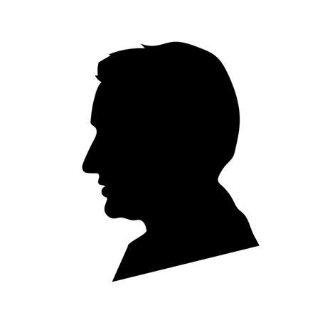 Black detailed realistic mans face profile on white