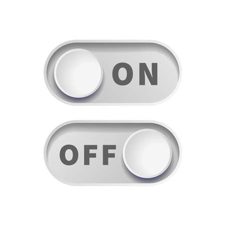 On and Off gray realistic toggle switch buttons on white