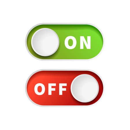 On and Off green and red toggle switch buttons on white Ilustración de vector
