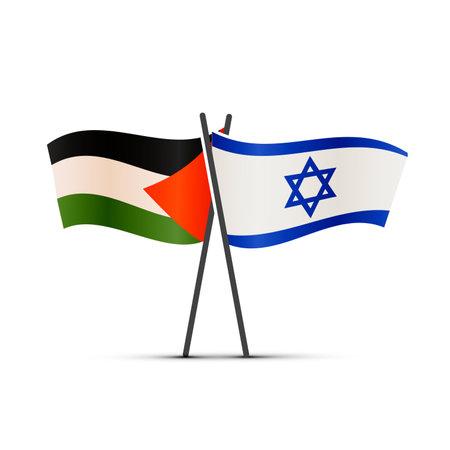 Israel and Palestine flags on poles on white Ilustração