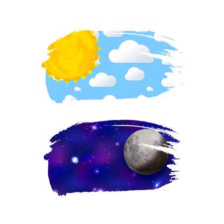 Day and night like brush stroke on white Ilustração