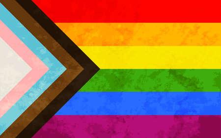 Progress pride flag with grunge texture, LGBT community sign Ilustração