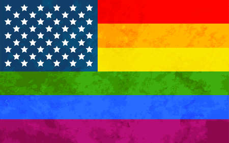 USA pride flag with grunge texture, LGBT community sign