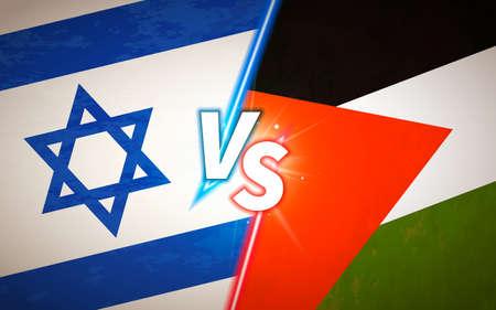 Versus screen, battle concept with Israel and Palestine flags Ilustração