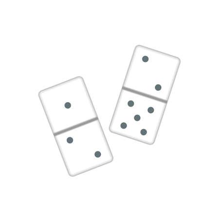 Couple of realistic white dominoes pieces on white Ilustração