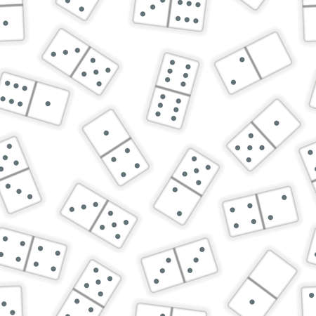 Lot of realistic white dominoes pieces on white, seamless pattern
