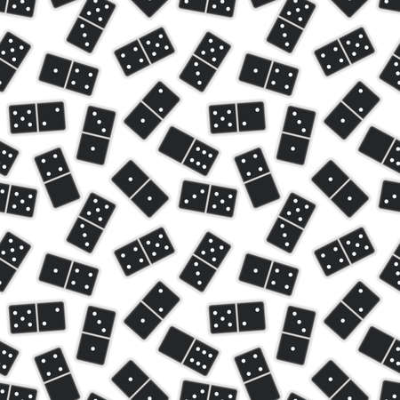 Lot of realistic black dominoes pieces on white, seamless pattern