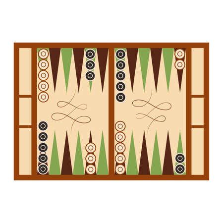 Classic backgammon game field in start position on white Ilustração