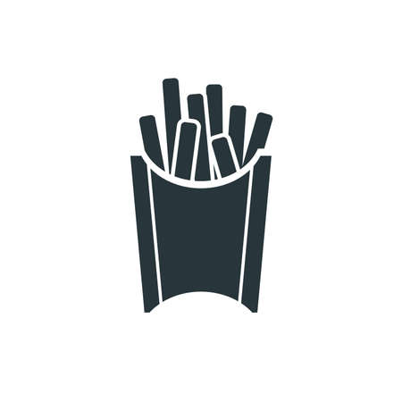 Tasty fast food, fries simple black icon on white Ilustração