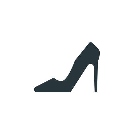 High heels simple sign, woman shoe icon on white background