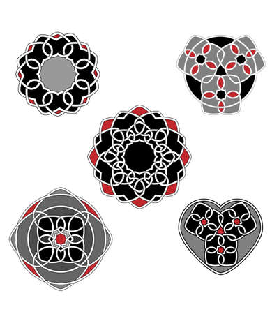 A set of celtic knotworks with hearts as main elements Иллюстрация