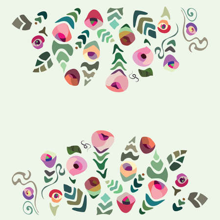 backgrund: Colourful flower frame on jellow background Illustration