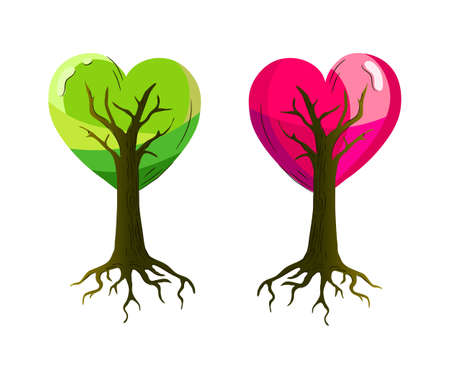 14 feb: A bright Valentine depicting a couple of heart shaped trees