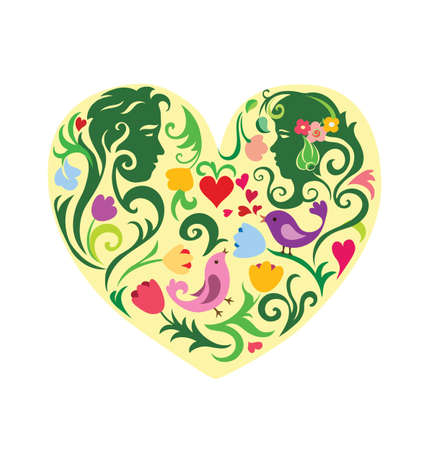 colourfull: Valentines colourfull patterned heart with couple. EPS 8