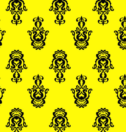 backgrund: vector vintage damask seamless pattern on the yellow backgrund Illustration