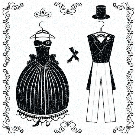 corsage: Set with monochrom wedding outfits of bride and groom