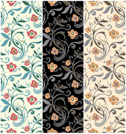 flowers field: set of retro floral patterns. vintage vector design Illustration
