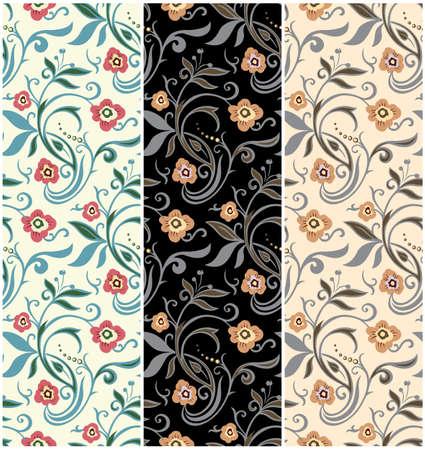 Set von Retro-Blumenmuster. Vintage-Vektor-Design