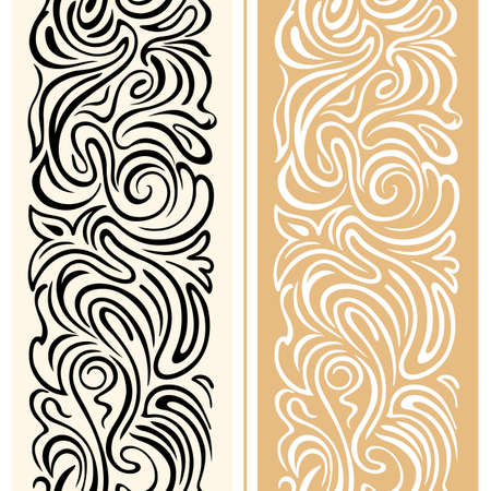 ベクトルのシームレスな境界線渦巻きとレトロなスタイルのフラワー モチーフ。滑らかなラインでエレガントなお祝い幾何学的な飾り。包装、広告  イラスト・ベクター素材