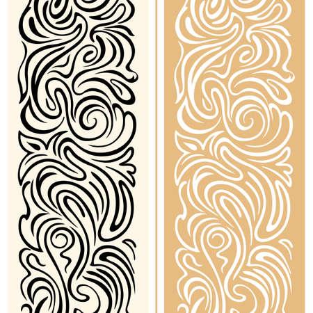 Vector seamless border avec des remous et des motifs floraux dans le style rétro. un ornement géométrique de fête avec des lignes douces. Décoration pour l'emballage, la publicité, cartes de Noël, félicitations pour la Journée et les tissus de la Saint-Valentin