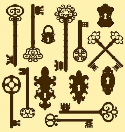 key hole: Old keys set with decorative elements in retro style Illustration