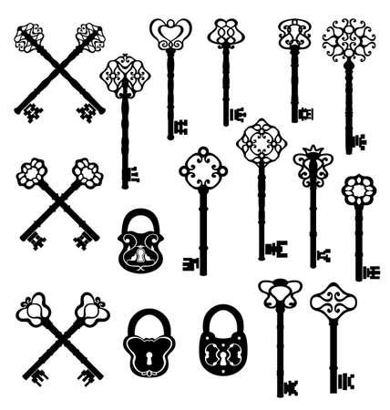 latchkey: Vintage keys and lock set. Vector design