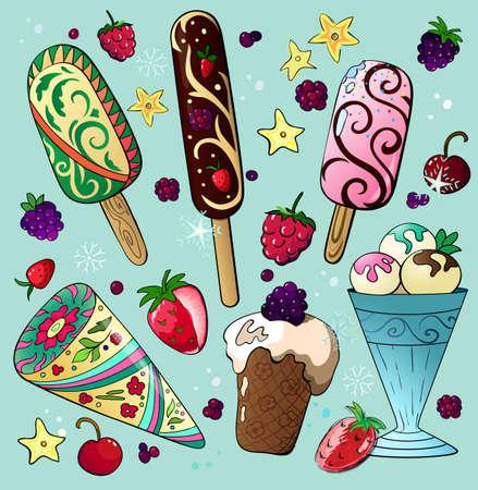 Delicious cartoon ice cream