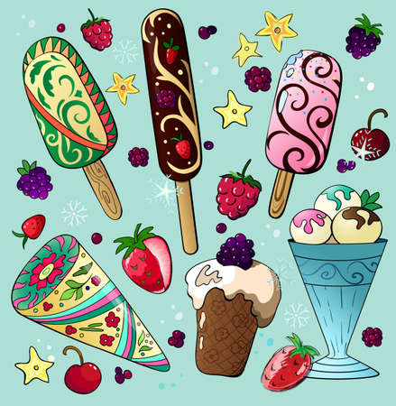 Delicious cartoon ice cream