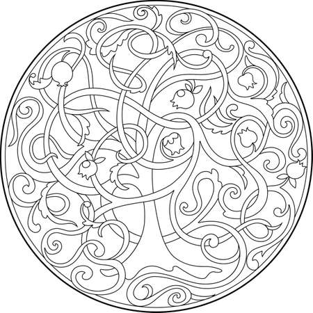 the graphic image of the tree of life with intertwined branches.